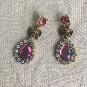 Betsey Johnson pink teardrop earrings